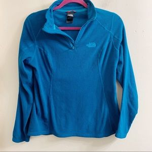 The north face blue fleece 1/4 zip pullover small